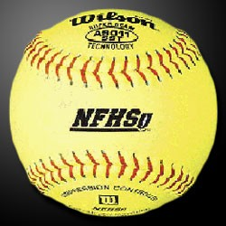"Wilson Fastpitch 12"" Optic Yellow Leather Softballs - NFHS (Dozen)"